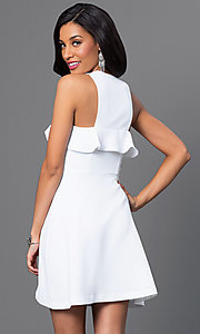 Image of white sleeveless short dress with ruffle detail Style: BC-GEF65H99 Back Image