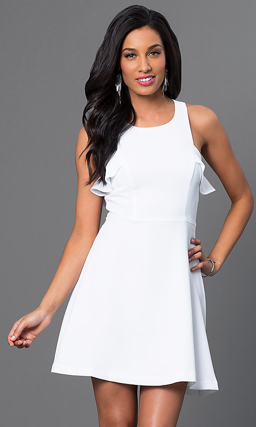 Image of white sleeveless short dress with ruffle detail Style: BC-GEF65H99 Front Image