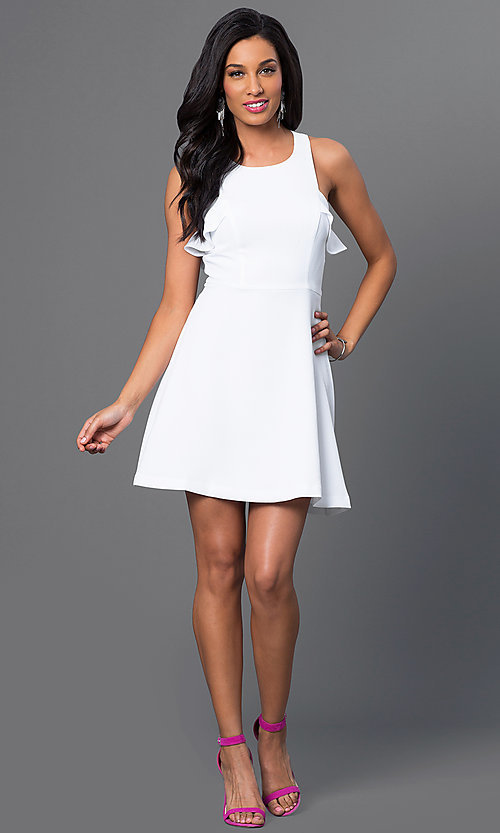 Image of white sleeveless short dress with ruffle detail Style: BC-GEF65H99 Detail Image 1