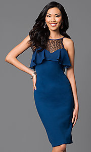 Knee Length Ruffle Bust Dress