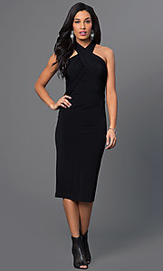 Image of knee-length halter dress Style: BC-YDM69h59 Detail Image 2