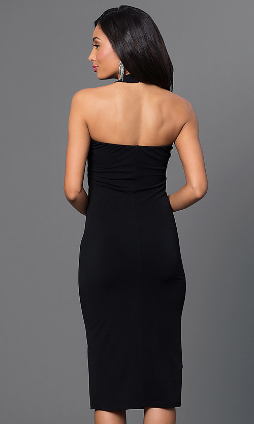 Image of knee-length halter dress Style: BC-YDM69h59 Back Image