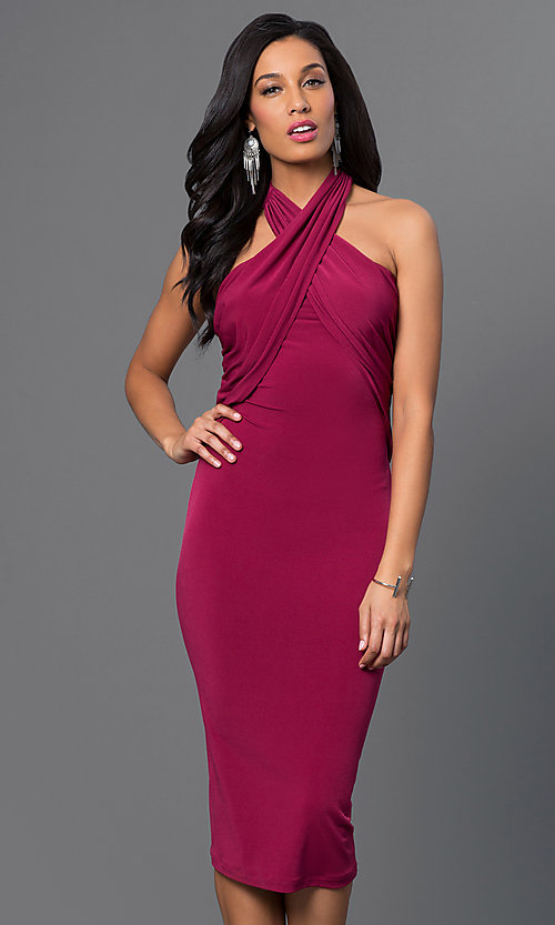 Image of knee-length halter dress Style: BC-YDM69h59 Front Image