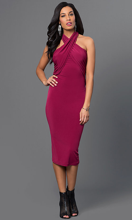 Image of knee-length halter dress Style: BC-YDM69h59 Detail Image 3