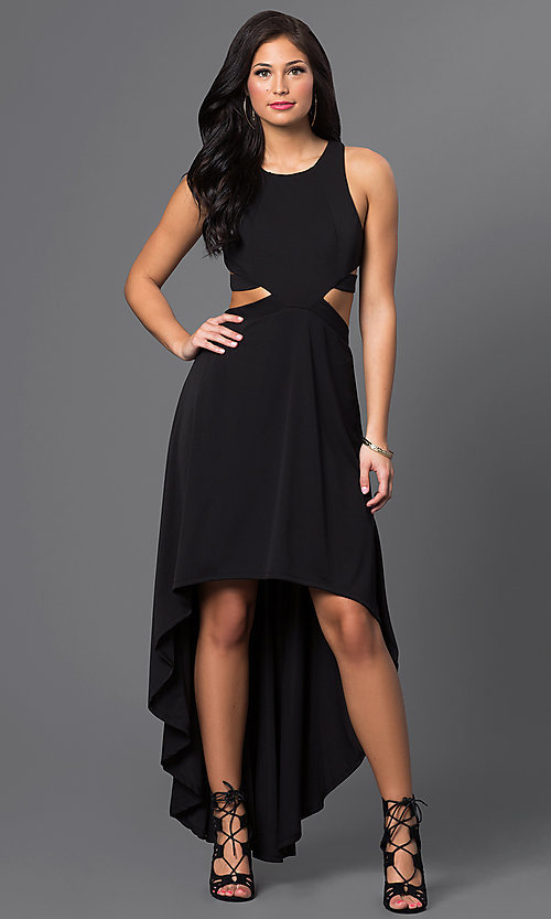 Image of black racerback high-low dress with cutouts. Style: CQ-3350DK Front Image