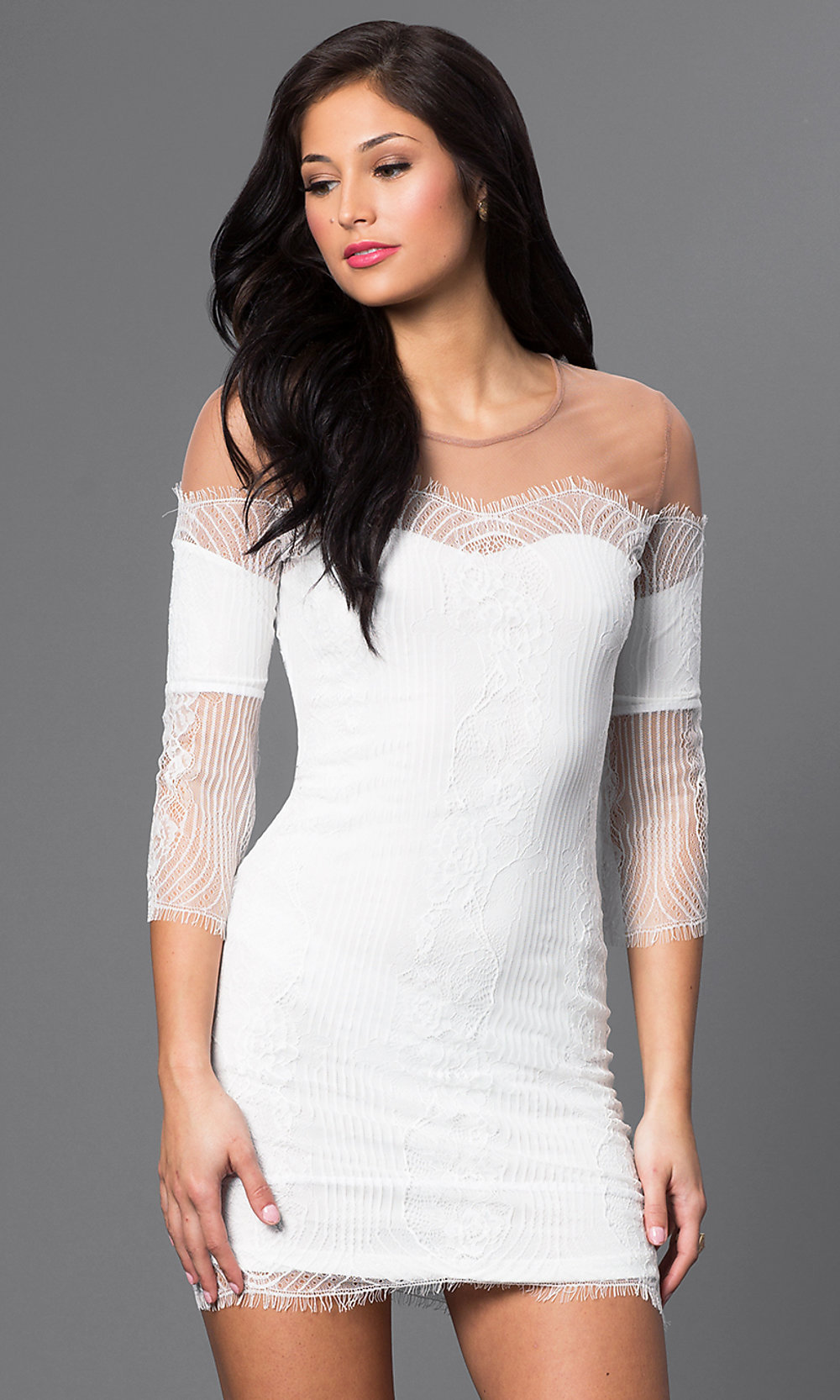 Short Lace-Illusion Cocktail Dress - PromGirl