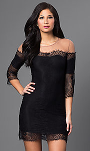 Image of short lace illusion off-shoulder dress with sleeves Style: CQ-4028DK Detail Image 1