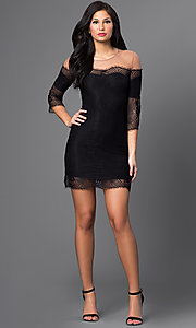Image of short lace illusion off-shoulder dress with sleeves Style: CQ-4028DK Detail Image 2