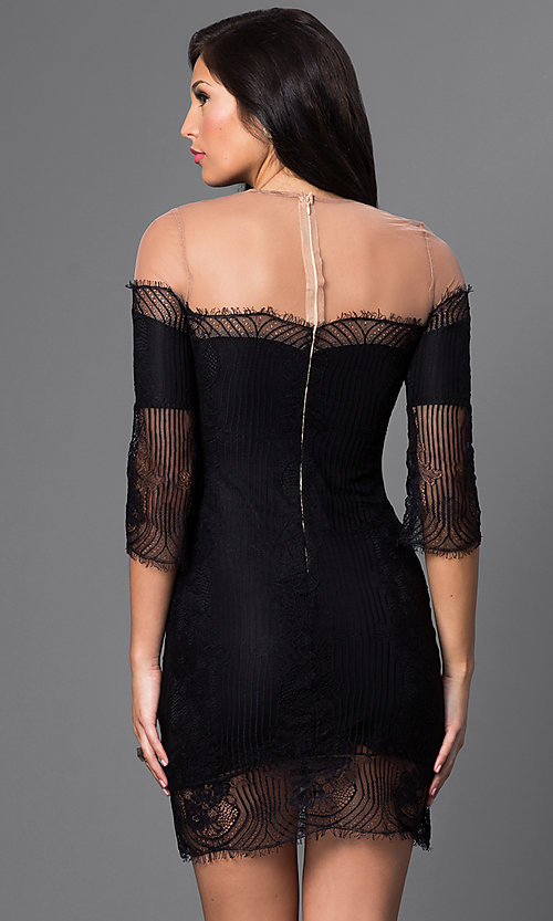 Image of short lace illusion off-shoulder dress with sleeves Style: CQ-4028DK Back Image