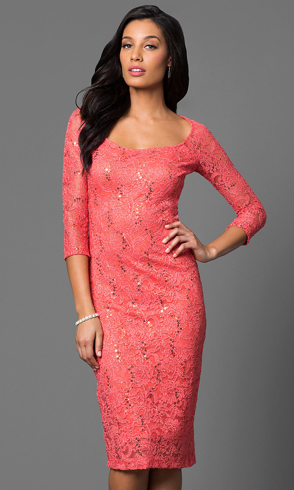 Sequined Lace Midi Dress With Sleeves - Promgirl 603d31c03