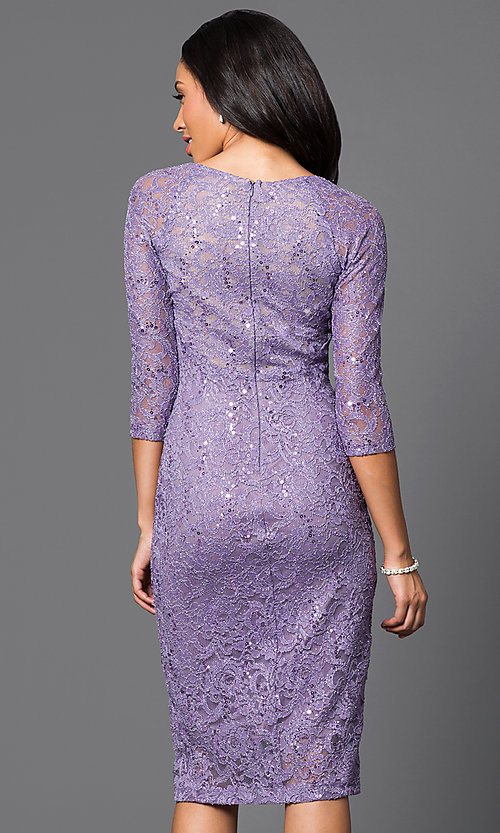 Image of  lace 3/4 sleeve scoop-neck midi dress  Style: MB-7069 Back Image