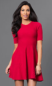 Short A-Line Dress with Half Sleeves