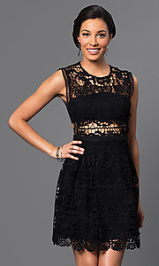 Image of embroidered-lace sleeveless short dress. Style: VE-D003 Front Image