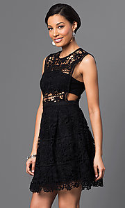 Image of embroidered-lace sleeveless short dress. Style: VE-D003 Detail Image 1