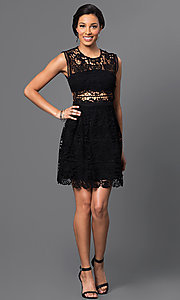 Image of embroidered-lace sleeveless short dress. Style: VE-D003 Detail Image 2