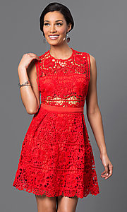 Image of embroidered-lace sleeveless short dress. Style: VE-D003 Detail Image 3