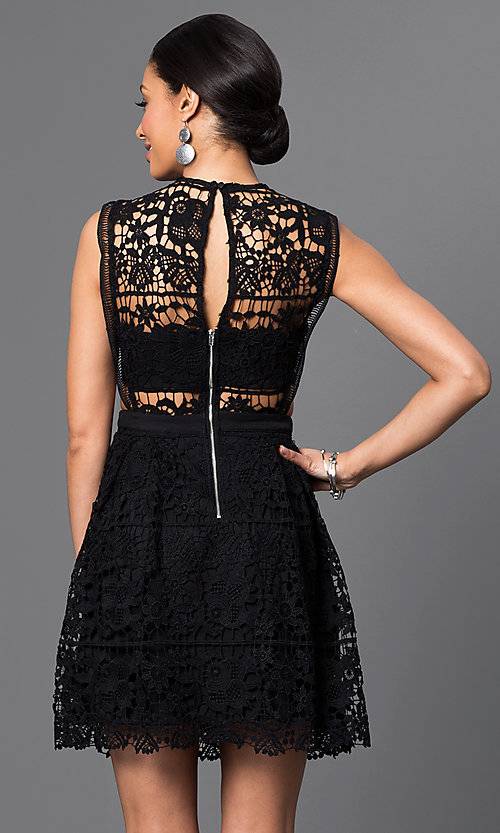 Image of embroidered-lace sleeveless short dress. Style: VE-D003 Back Image
