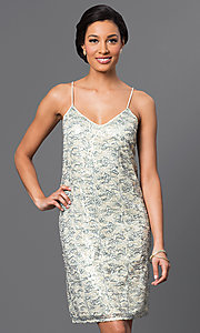 Image of short sequin dress Style: VE-QFM8951B Front Image