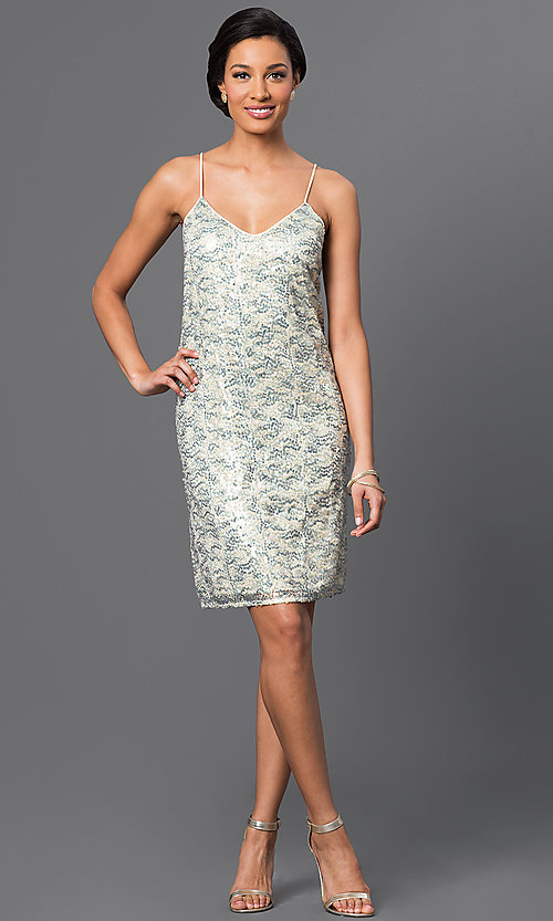 Image of short sequin dress Style: VE-QFM8951B Detail Image 1