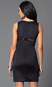 Image of short sleeveless scoop-neck black scuba dress Style: MY-2578SX1C Back Image