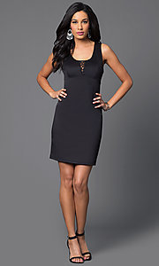 Image of short sleeveless scoop-neck black scuba dress Style: MY-2578SX1C Detail Image 1