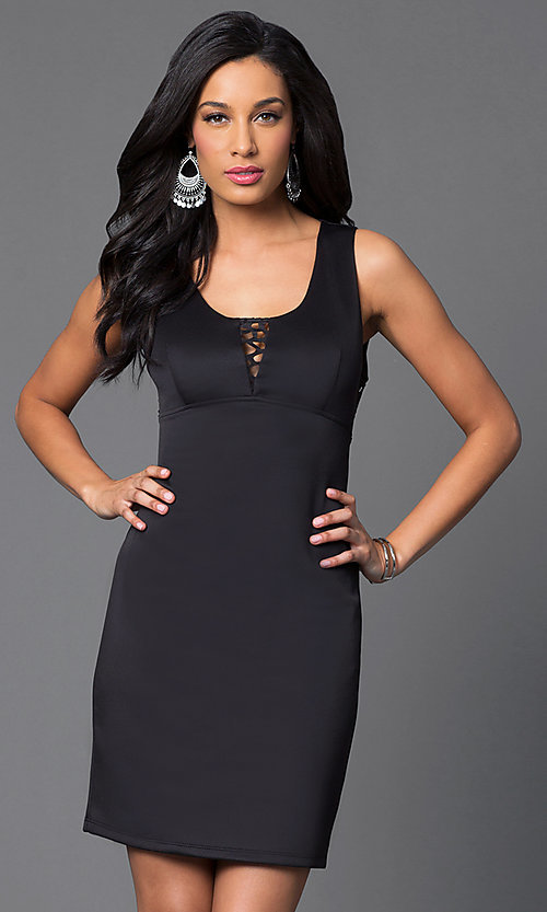 Image of short sleeveless scoop-neck black scuba dress Style: MY-2578SX1C Front Image
