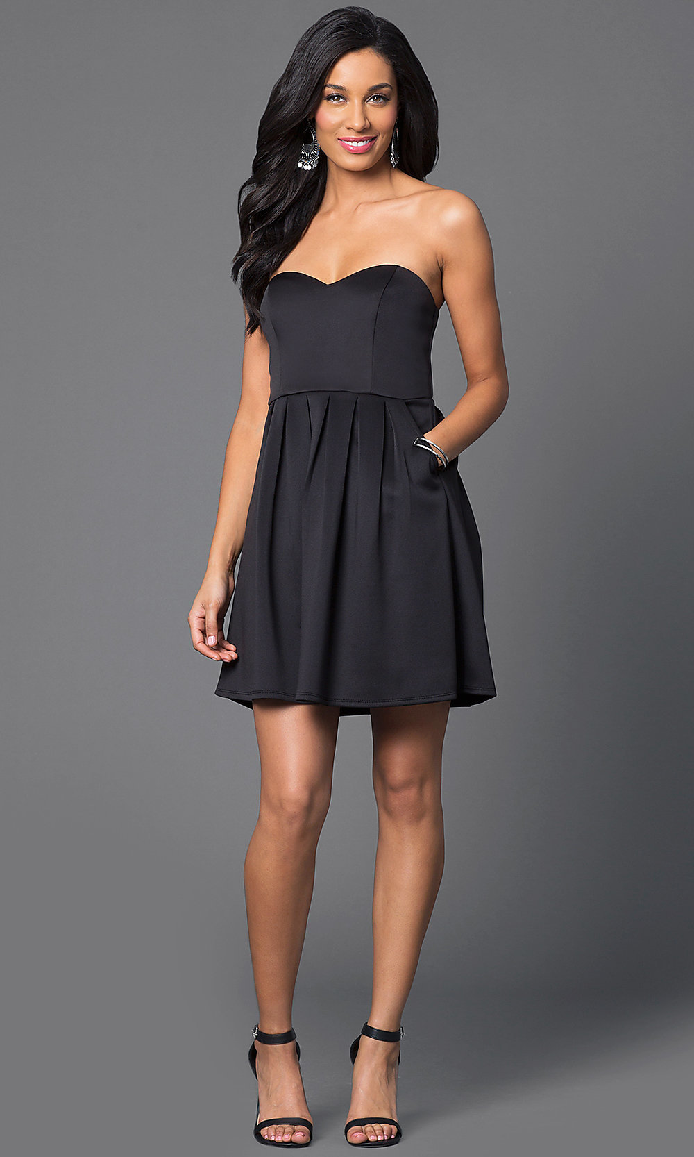 Short Strapless Black Party Dress - PromGirl