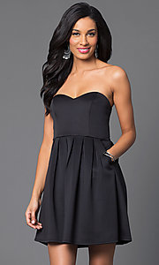 Image of short strapless sweetheart black party dress. Style: MY-3035SX1D Front Image