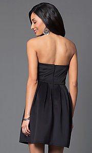 Image of short strapless sweetheart black party dress. Style: MY-3035SX1D Back Image