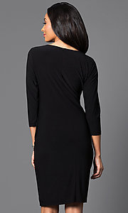 Image of 3/4 sleeve knee-length dress with ruching  Style: JU-TI-87477 Back Image