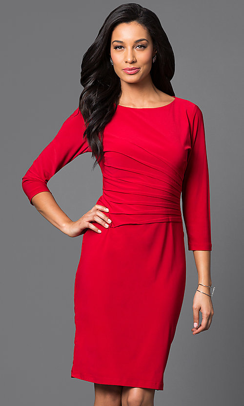 Image of 3/4 sleeve knee-length dress with ruching  Style: JU-TI-87477 Front Image