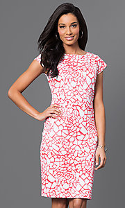 Cap-Sleeve Party Dress with Orange and White Print