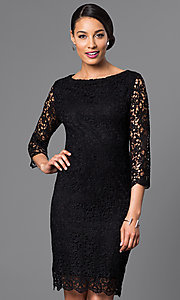 Image of designer knee-length lace party dress by Jump. Style: JU-TI-88577 Front Image