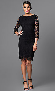Image of designer knee-length lace party dress by Jump. Style: JU-TI-88577 Detail Image 1