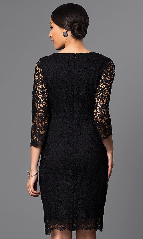Image of designer knee-length lace party dress by Jump. Style: JU-TI-88577 Back Image