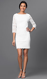 Image of embroidered lace 3/4 sleeve short dress Style: JU-TI-88657 Detail Image 1