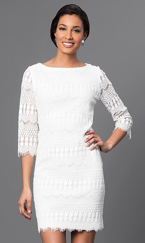 Image of embroidered lace 3/4 sleeve short dress Style: JU-TI-88657 Front Image