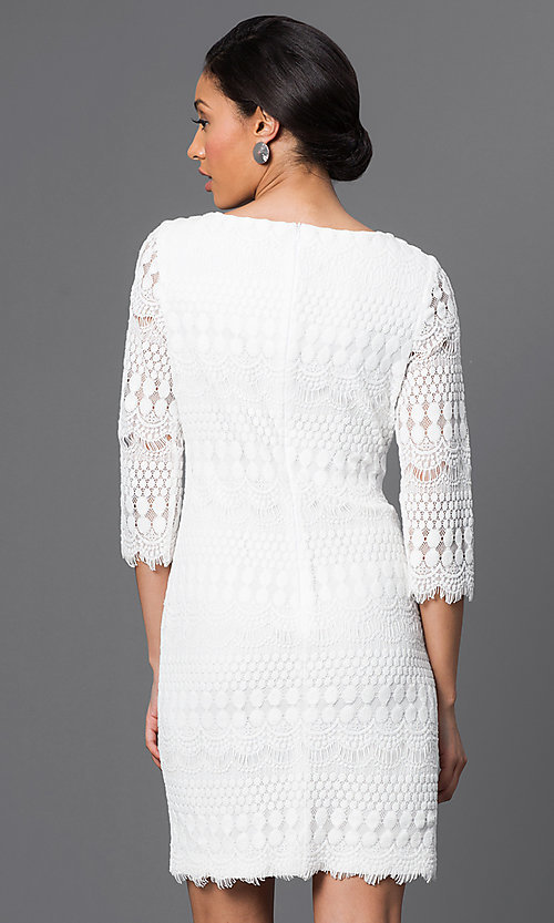 Image of embroidered lace 3/4 sleeve short dress Style: JU-TI-88657 Back Image
