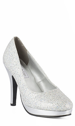 High Heel Silver Closed Toe Pump