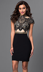Embroidered Illusion Short Black Prom Dress by Brit Cameron