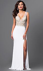 Image of jewel-embellished v-neck gown by Brit Cameron. Style: BT-16354 Front Image