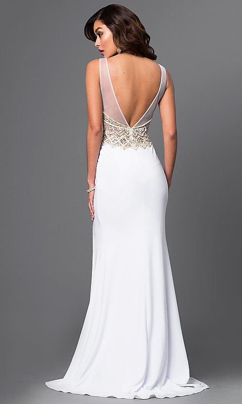 Image of jewel-embellished v-neck gown by Brit Cameron. Style: BT-16354 Back Image