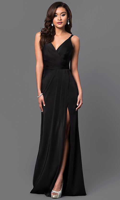 Image of long Faviana black prom dress with ruching. Style: FA-7755b Front Image