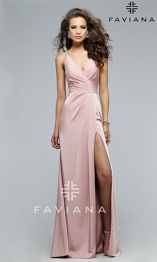 Image of long Faviana open-back prom dress with ruching. Style: FA-7755b Front Image