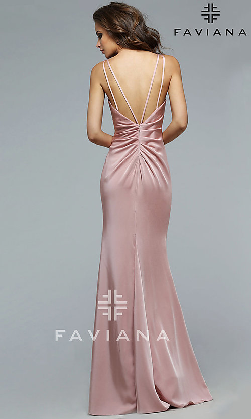 Image of long Faviana black prom dress with ruching. Style: FA-7755b Back Image