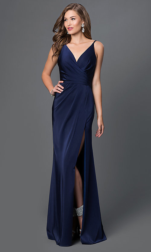 Image of long Faviana black prom dress with ruching. Style: FA-7755b Detail Image 2