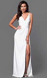 Image of Faviana white satin long prom dress with v-neck. Style: FA-7755w Front Image