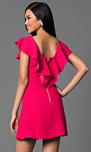 Image of short a-line dress with shoulder ruffle. Style: INA-IDA70199 Back Image