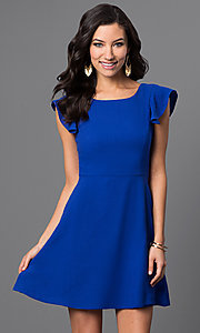Short A-line Dress with Shoulder Ruffle