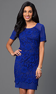 Short Lace Short Sleeve Dress